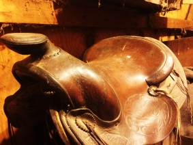 My dad's old saddle sits in storage