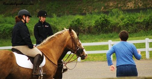 Gabi Hooten talks to riders in the Dressage session.